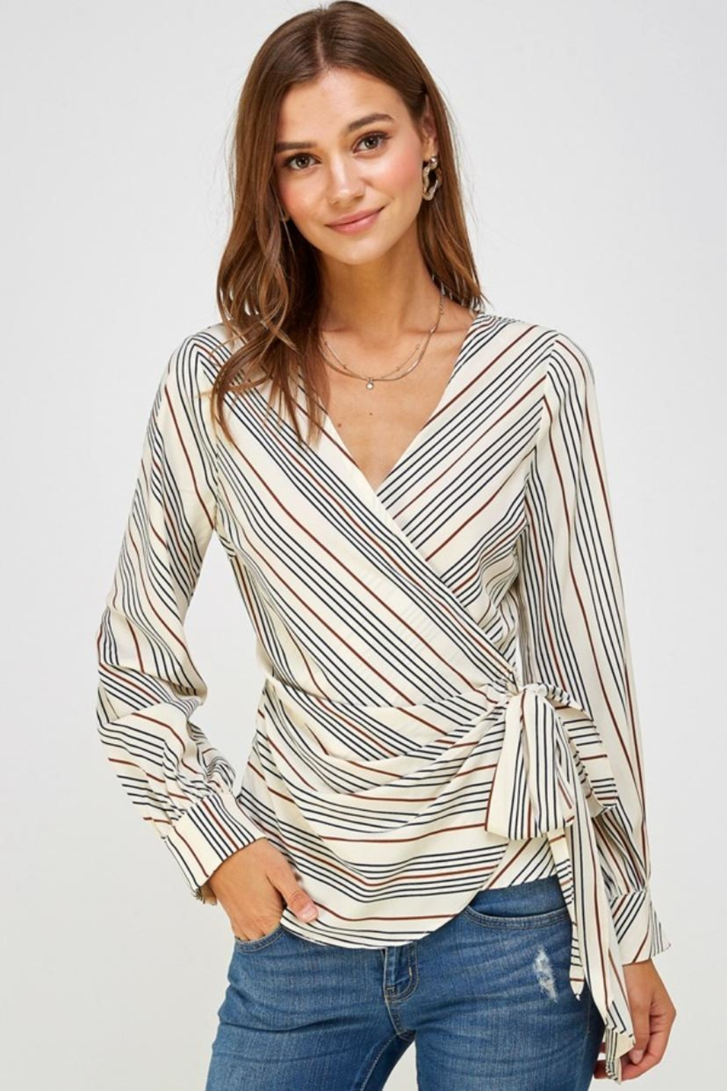Lulumari Striped Wrap Top - Front Cropped Image