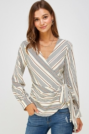 Lulumari Striped Wrap Top - Product Mini Image