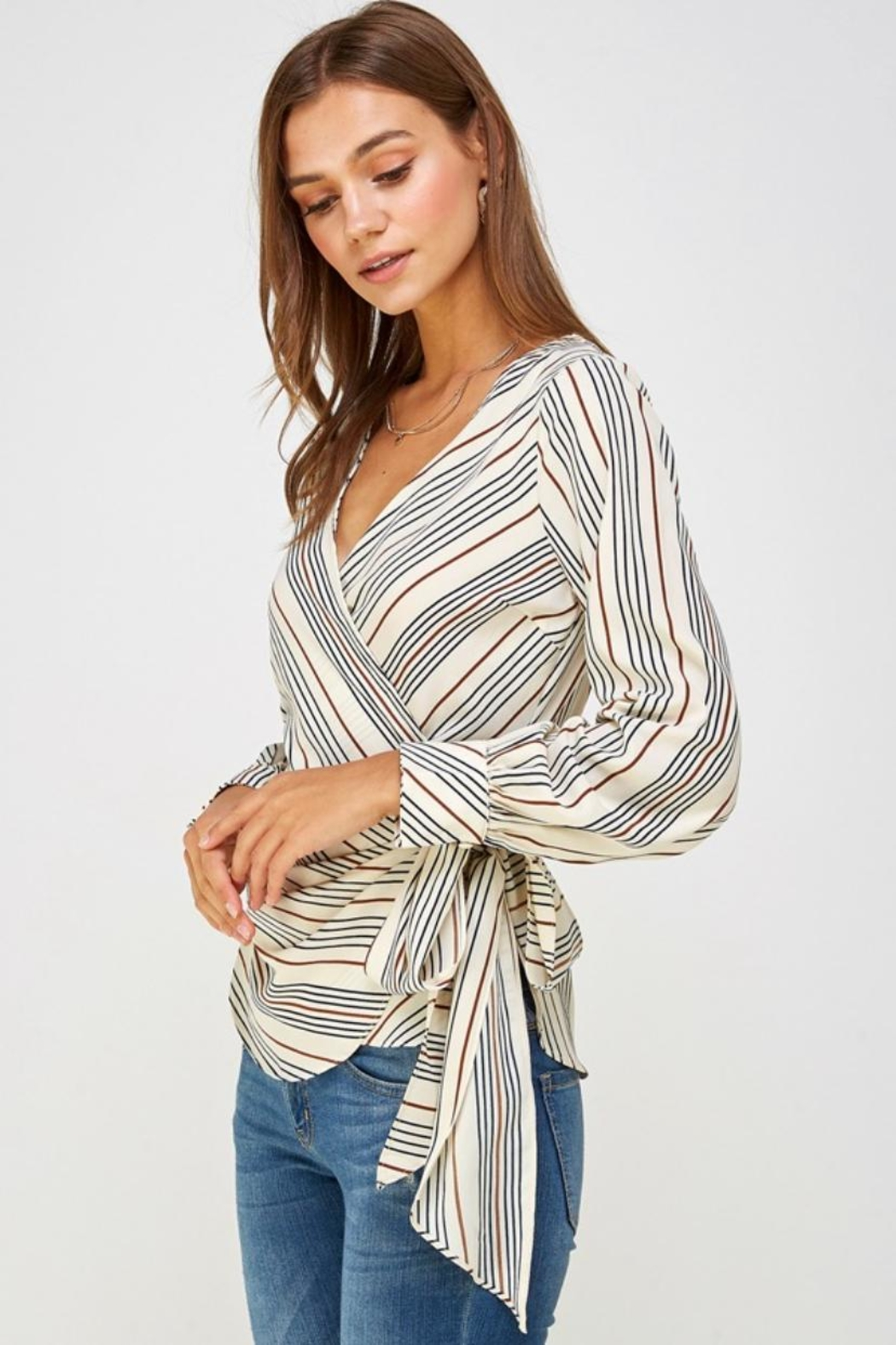 Lulumari Striped Wrap Top - Side Cropped Image