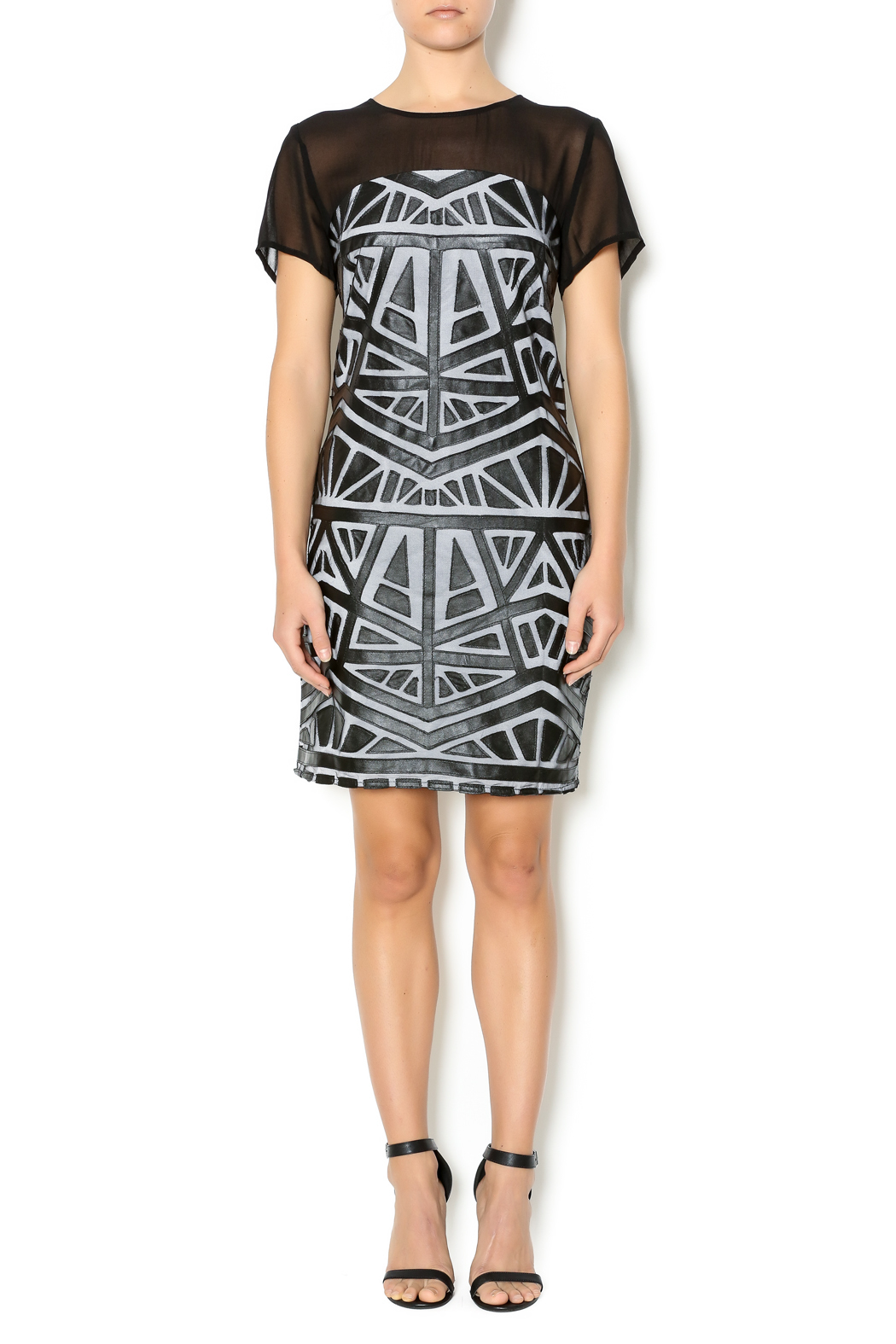 Lumiere Black White Midi Dress - Front Full Image