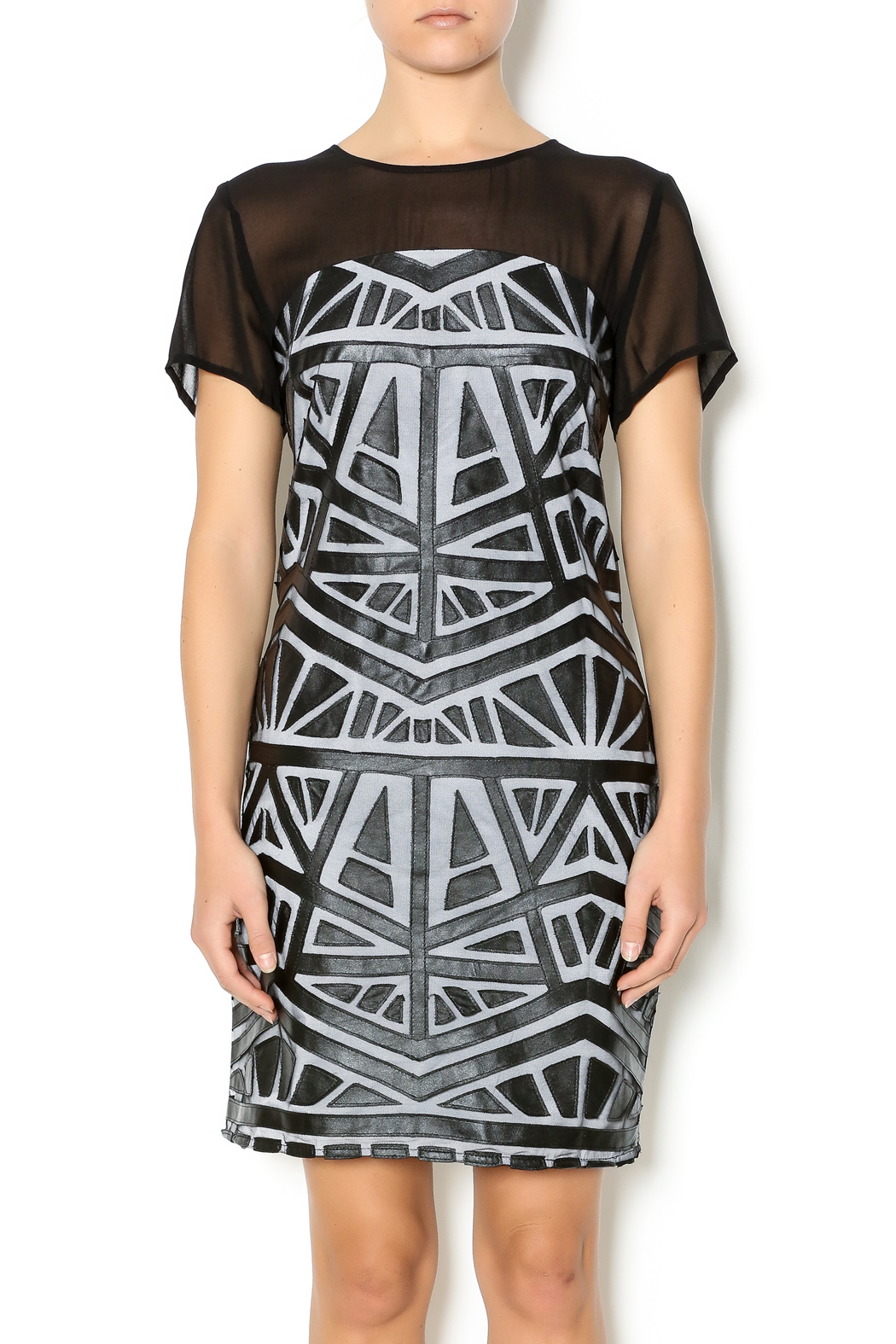 Lumiere Black White Midi Dress - Main Image
