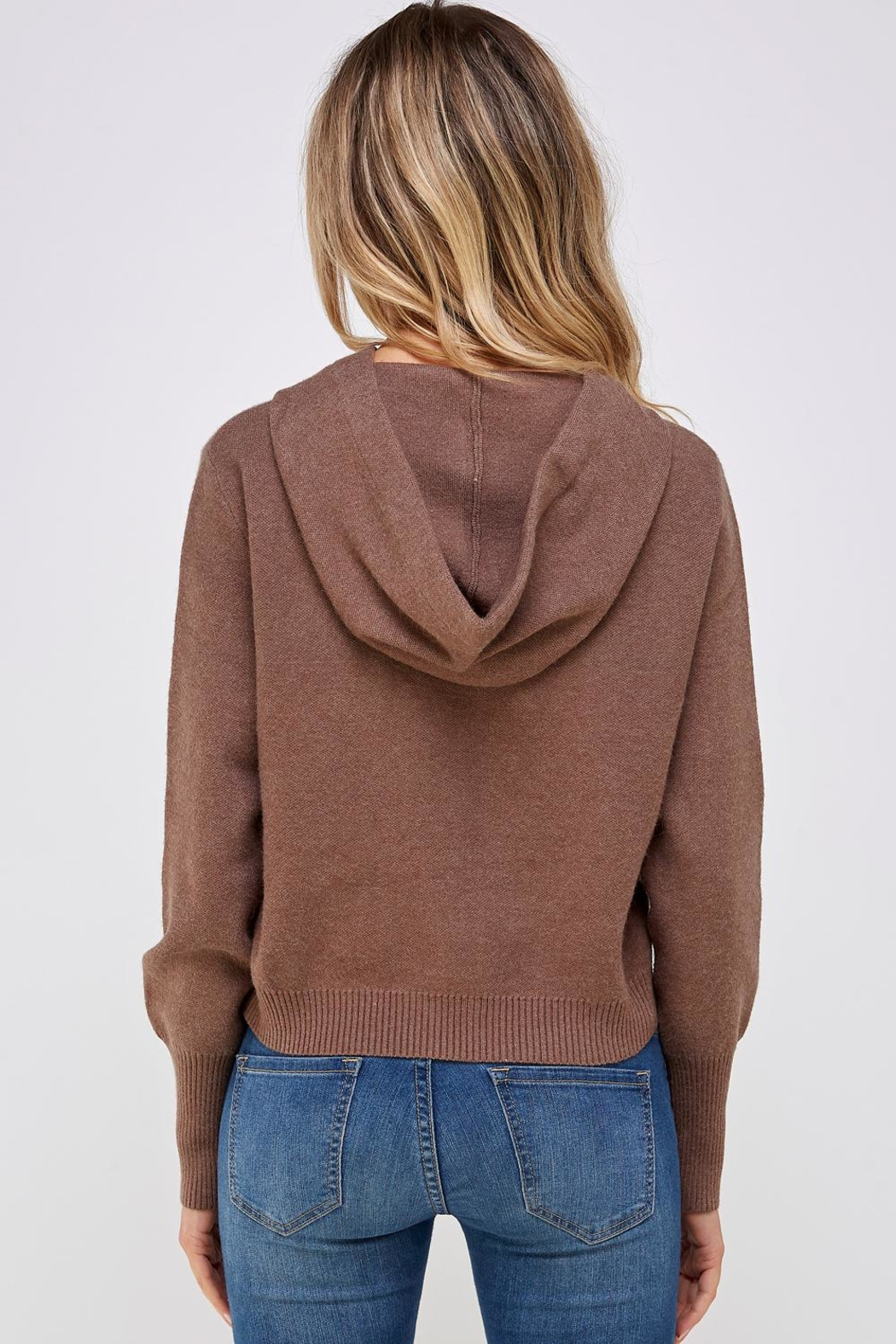 Lumiere Brown Drawstring Hoodie - Side Cropped Image