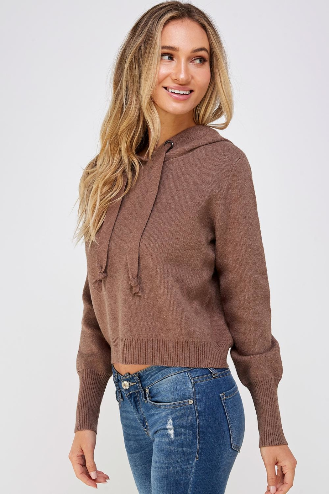 Lumiere Brown Drawstring Hoodie - Front Full Image