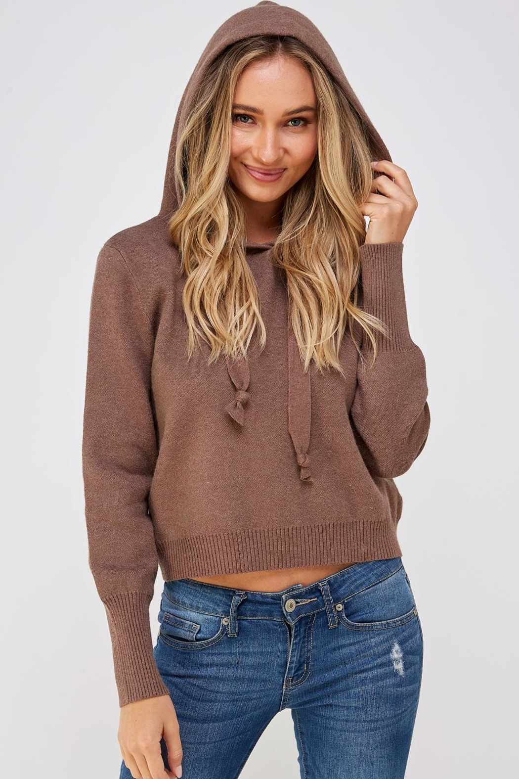 Lumiere Brown Drawstring Hoodie - Back Cropped Image