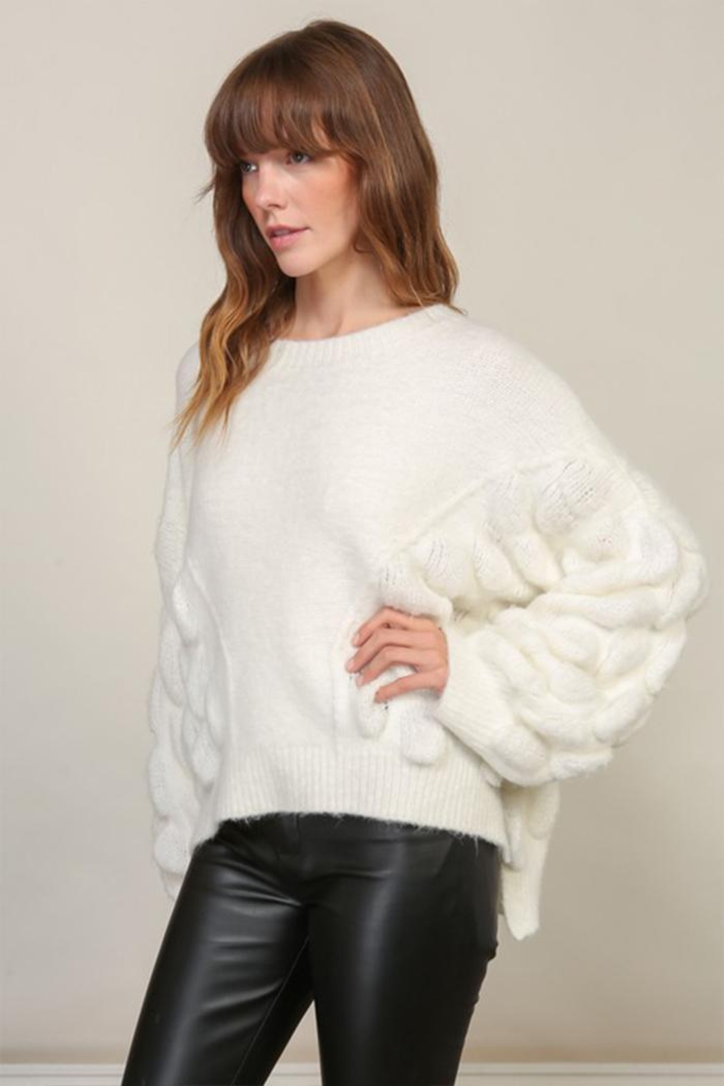 Lumiere Bubble Sleeve Sweater - Front Cropped Image