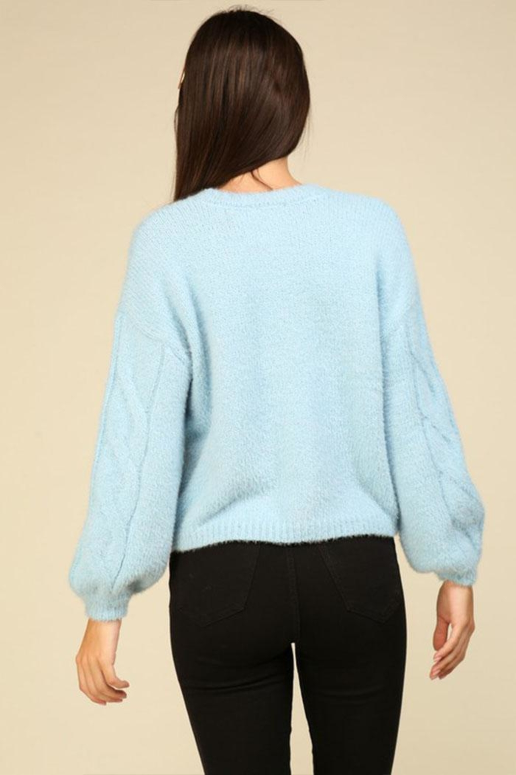 Lumiere Cable Knit Sweater - Back Cropped Image