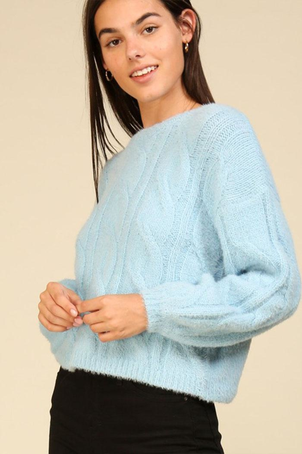 Lumiere Cable Knit Sweater - Side Cropped Image
