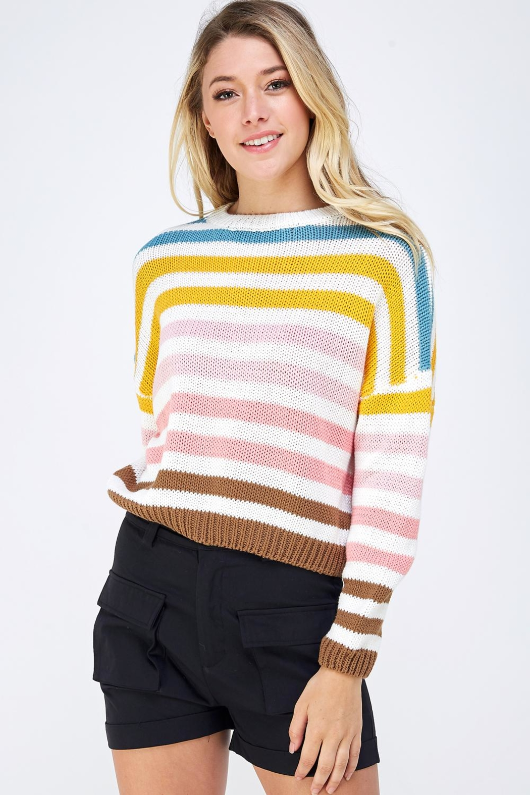Lumiere Colorful Striped Sweater - Main Image