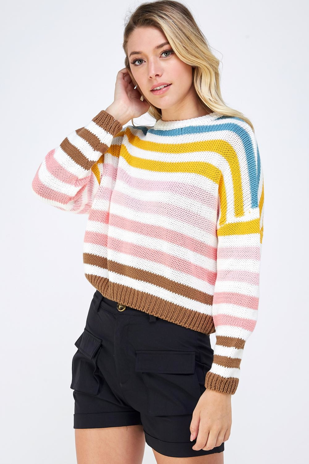 Lumiere Colorful Striped Sweater - Side Cropped Image
