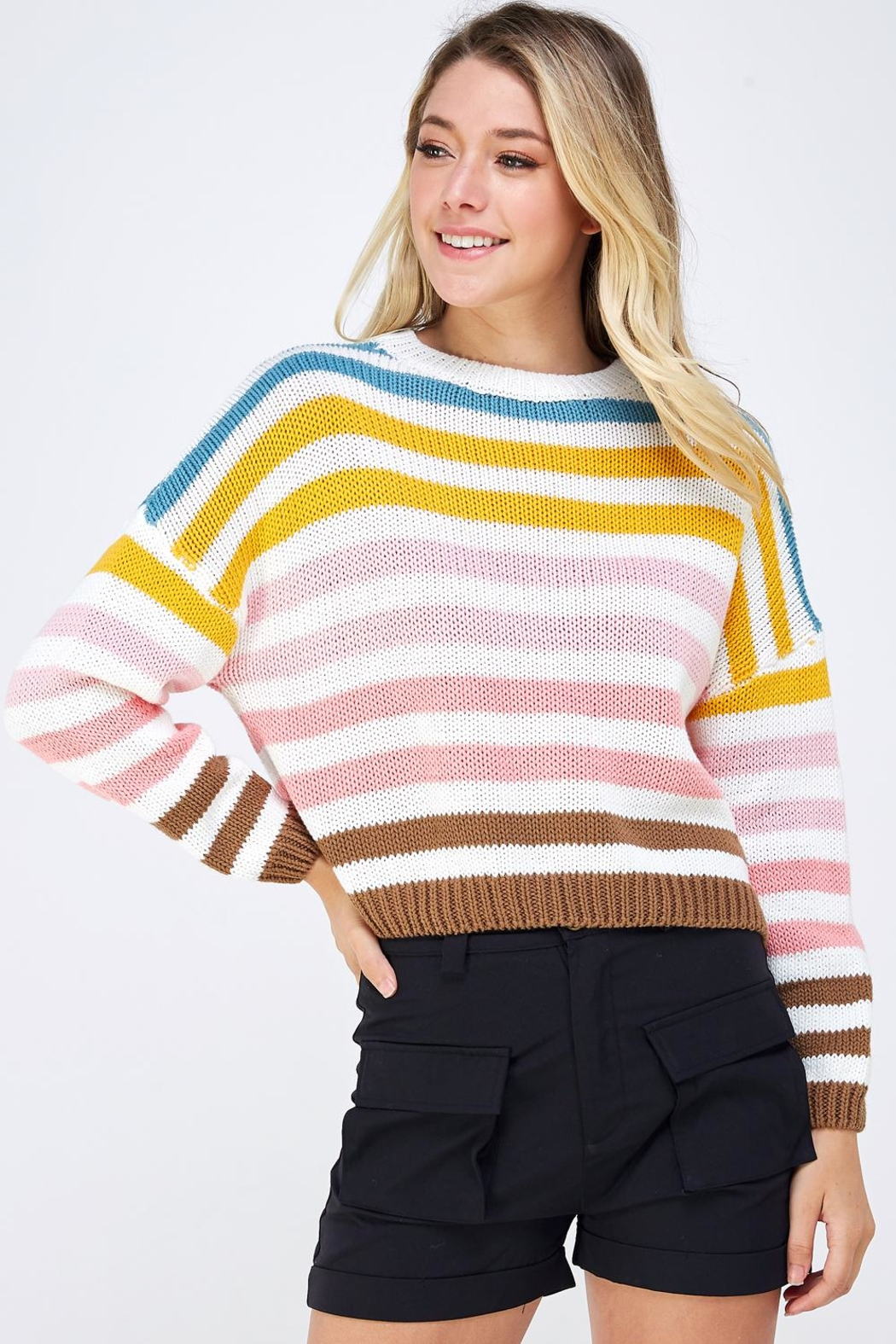 Lumiere Colorful Striped Sweater - Front Full Image