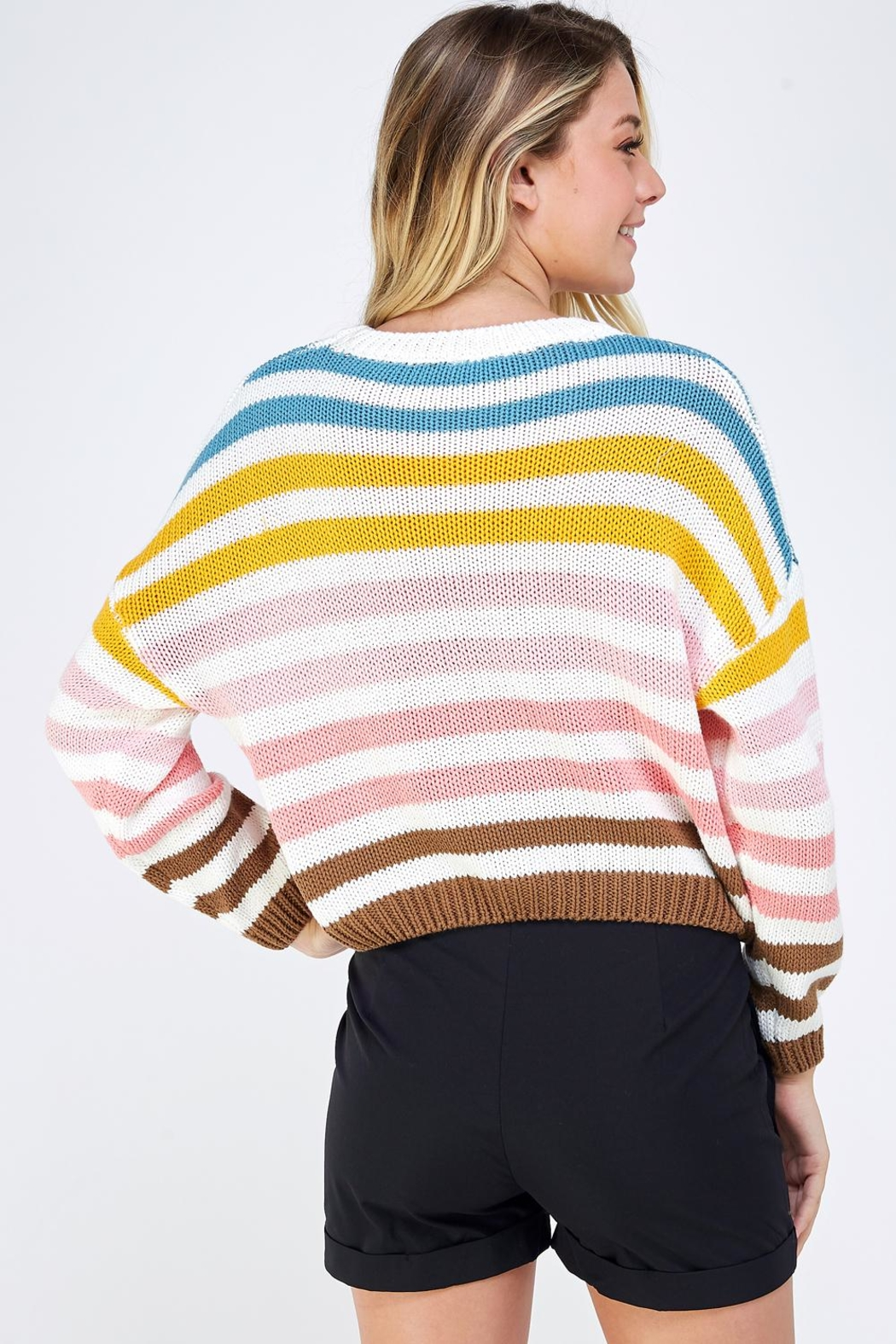 Lumiere Colorful Striped Sweater - Back Cropped Image