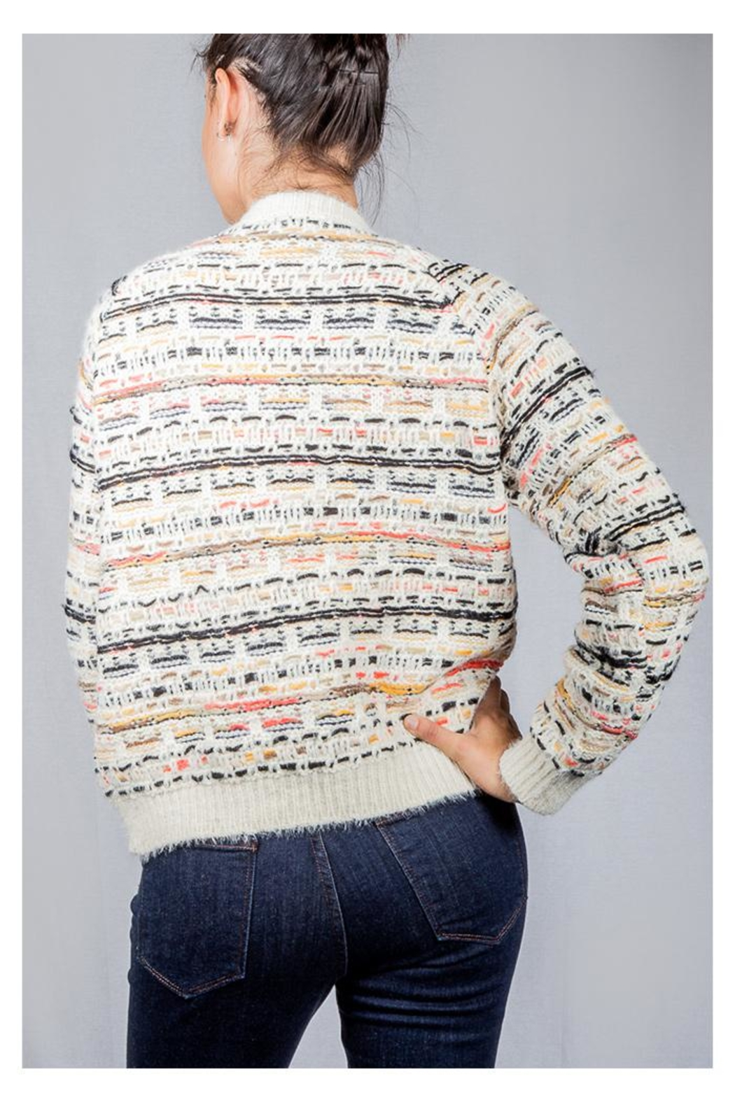 Lumiere Colorful Weave Sweater - Back Cropped Image