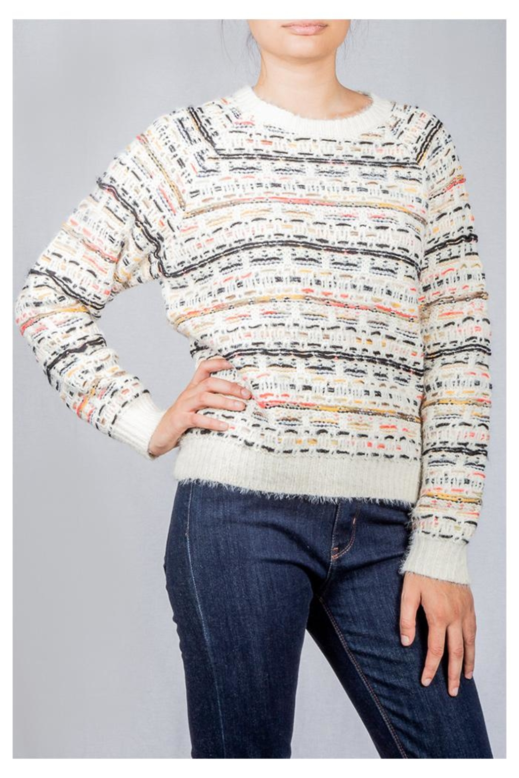 Lumiere Colorful Weave Sweater - Side Cropped Image