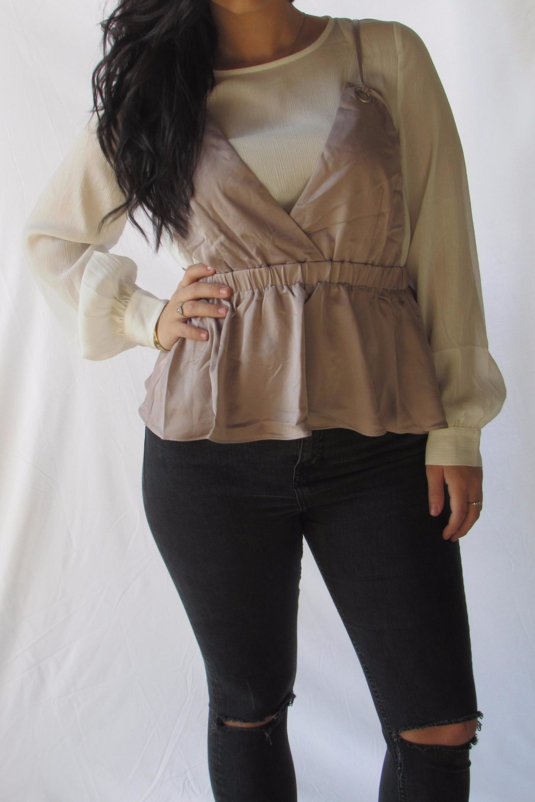 Lumiere Contrast Layered Blouse - Front Full Image