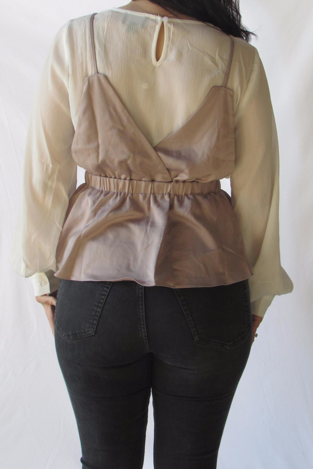 Lumiere Contrast Layered Blouse - Back Cropped Image