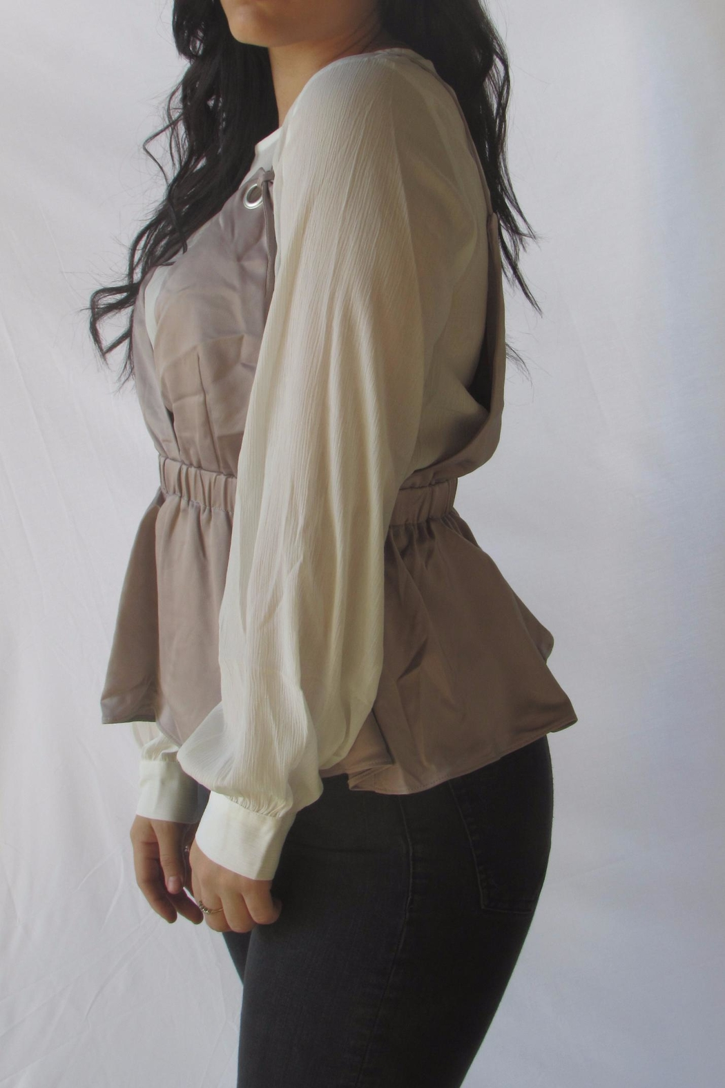 Lumiere Contrast Layered Blouse - Side Cropped Image