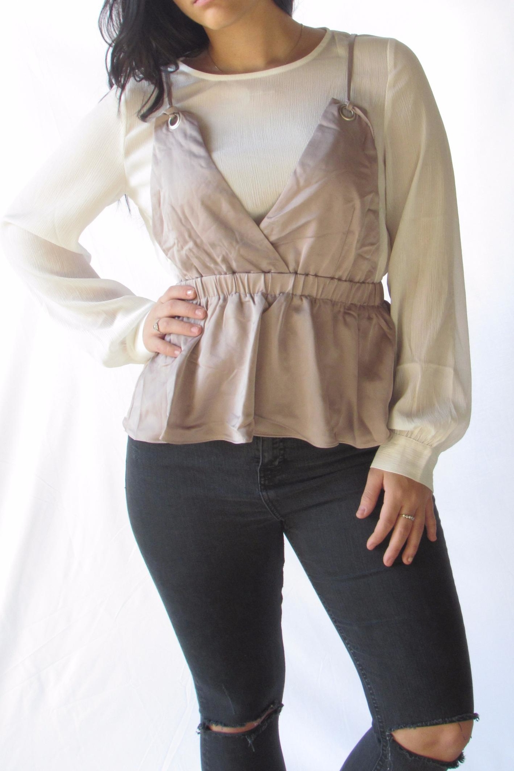 Lumiere Contrast Layered Blouse - Main Image