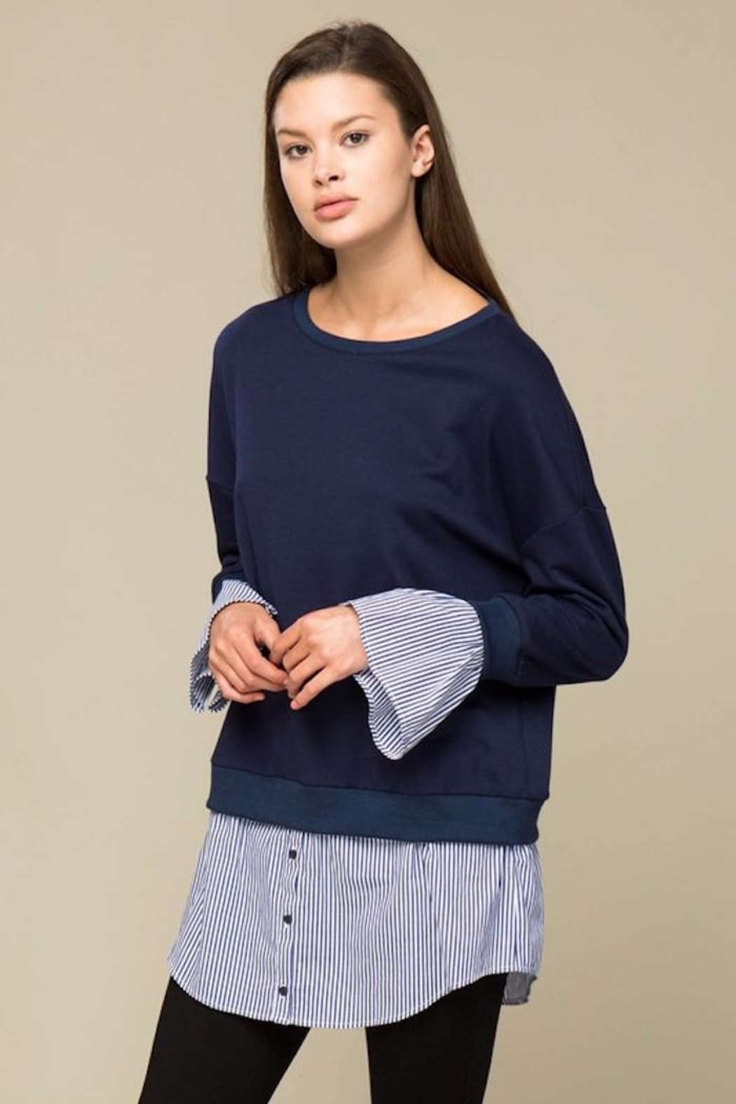 Lumiere Contrast Sweater Shirt - Front Full Image