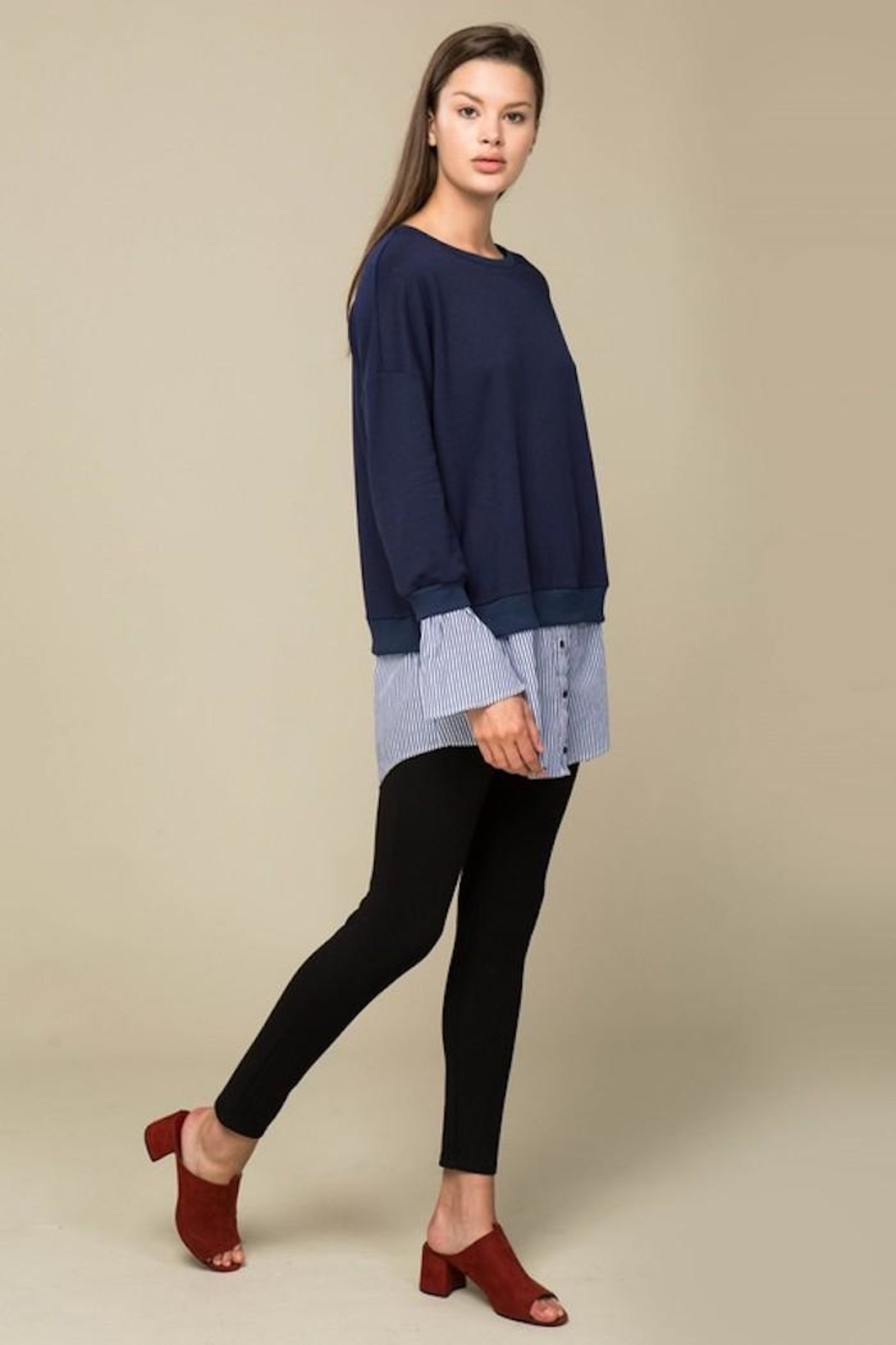 Lumiere Contrast Sweater Shirt - Back Cropped Image