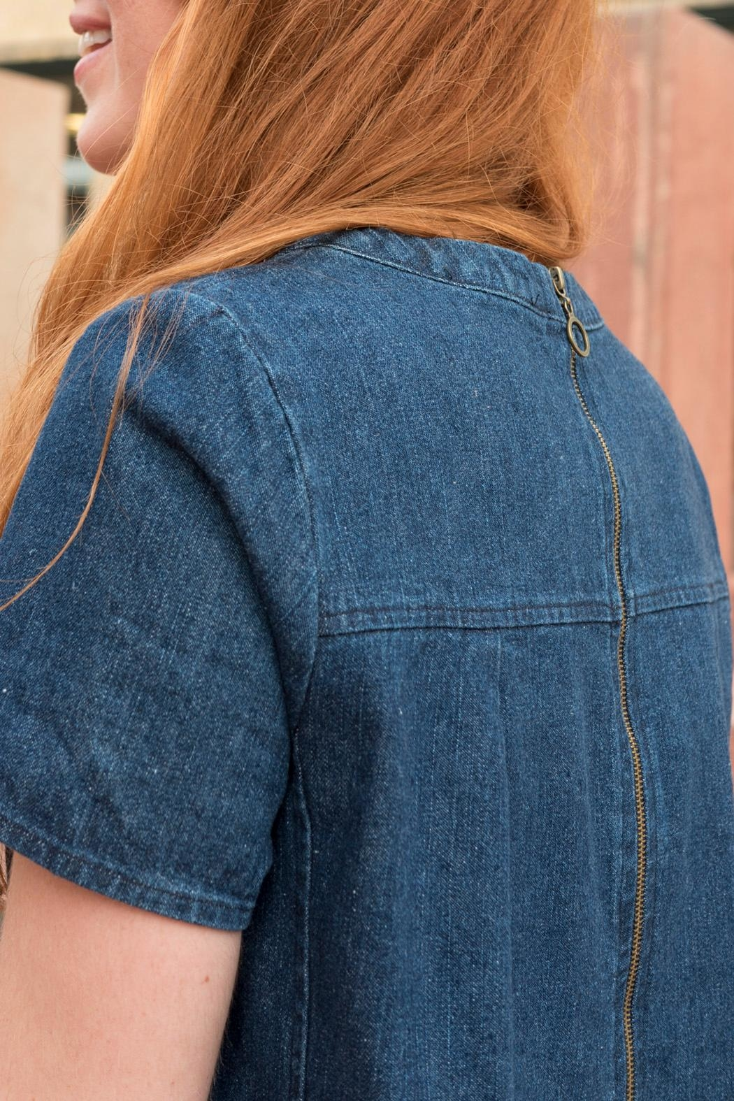 Lumiere Denim Shift Dress - Side Cropped Image
