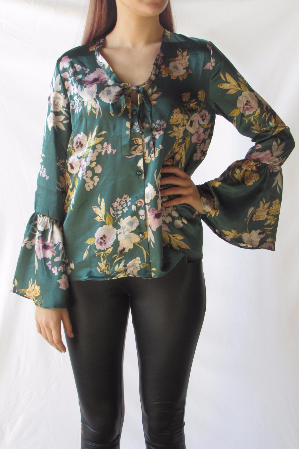 Lumiere Floral Satin Blouse - Front Cropped Image