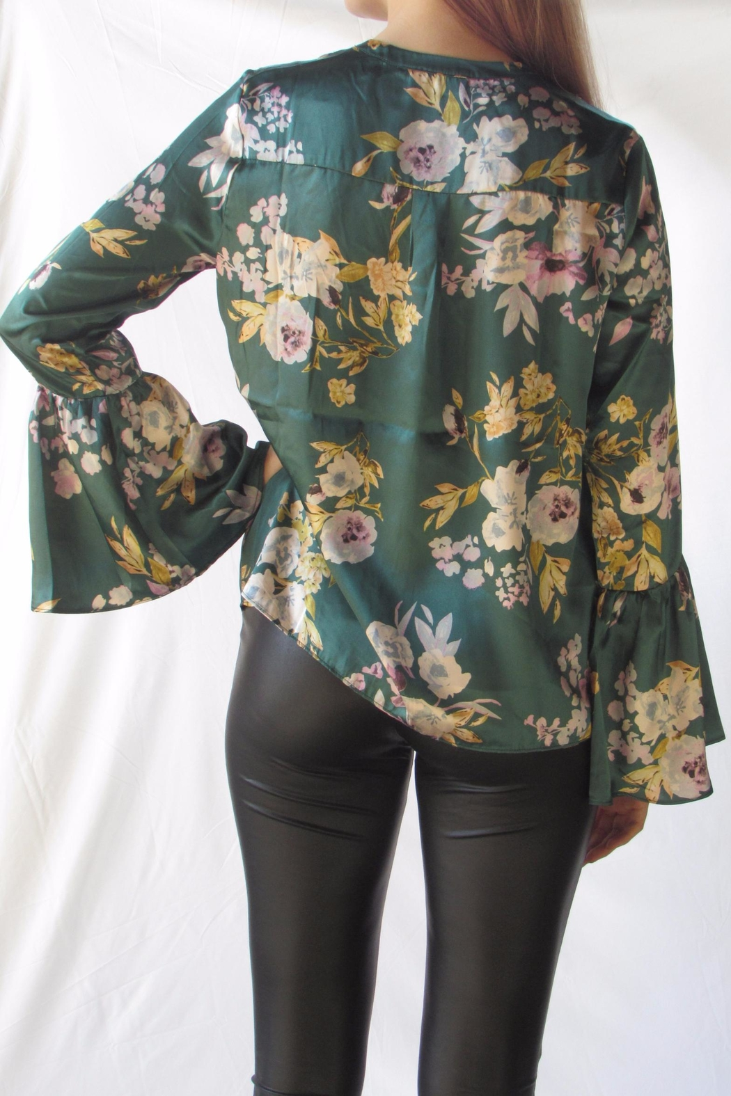 Lumiere Floral Satin Blouse - Front Full Image