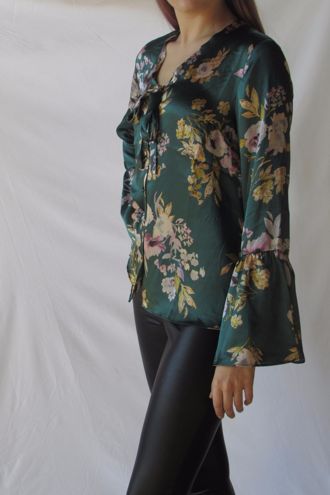 Lumiere Floral Satin Blouse - Side Cropped Image