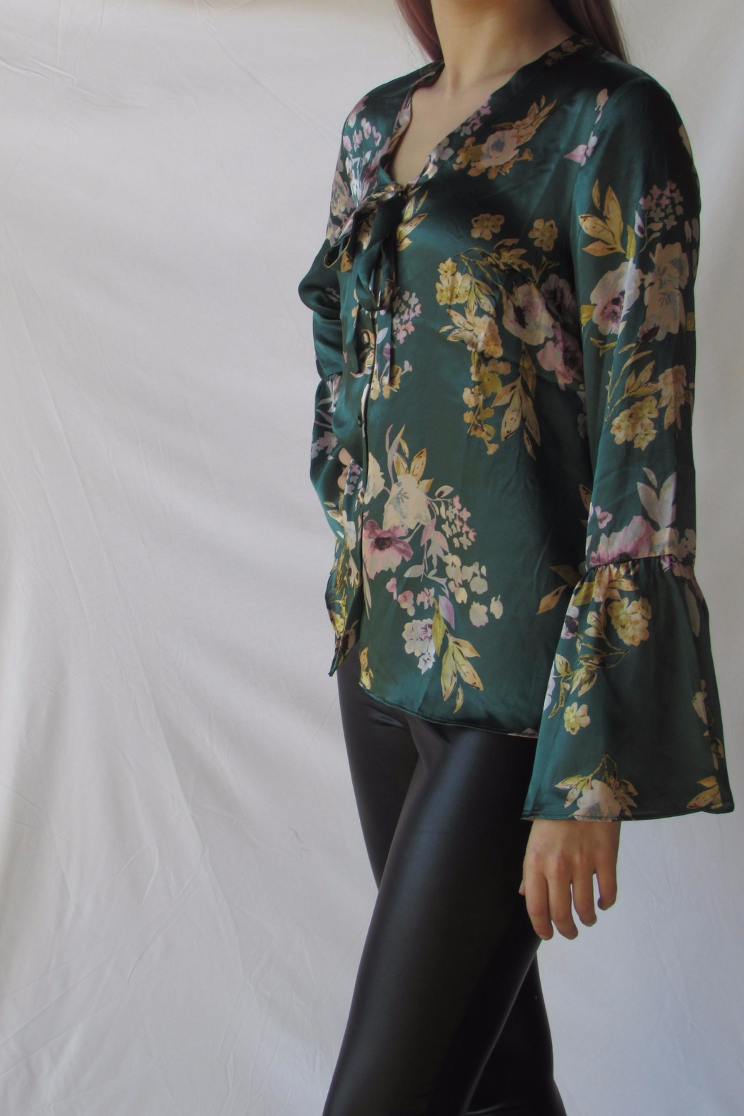 Lumiere Floral Satin Blouse - Back Cropped Image
