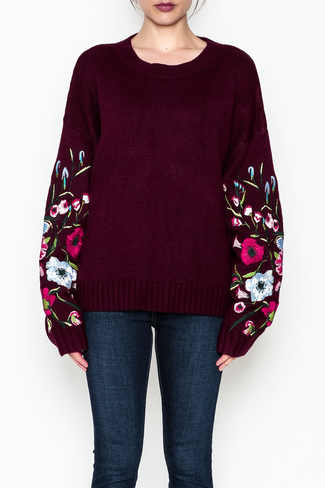 Lumiere Floral Sleeve Sweater - Front Full Image