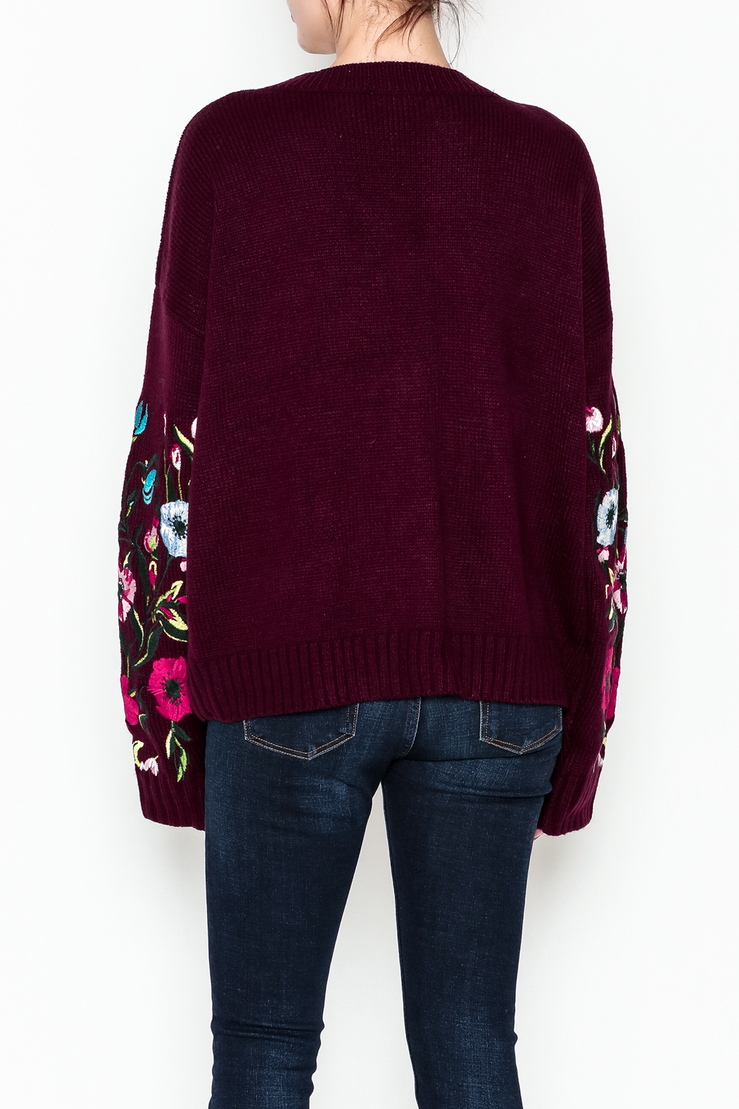 Lumiere Floral Sleeve Sweater - Back Cropped Image