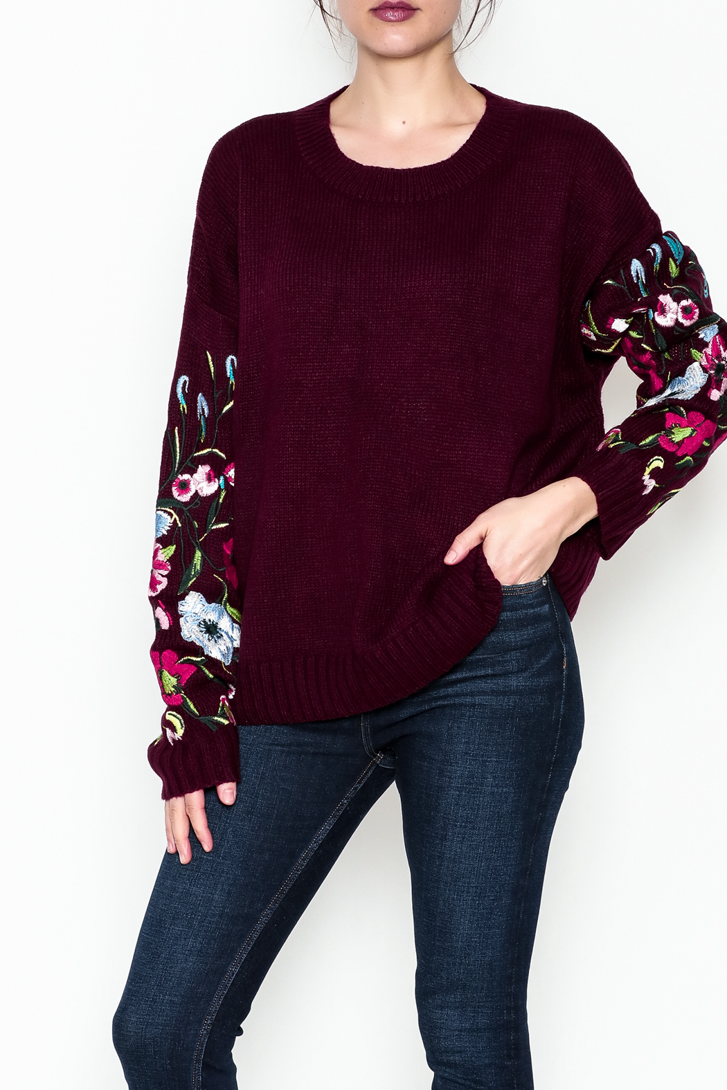 Lumiere Floral Sleeve Sweater - Main Image