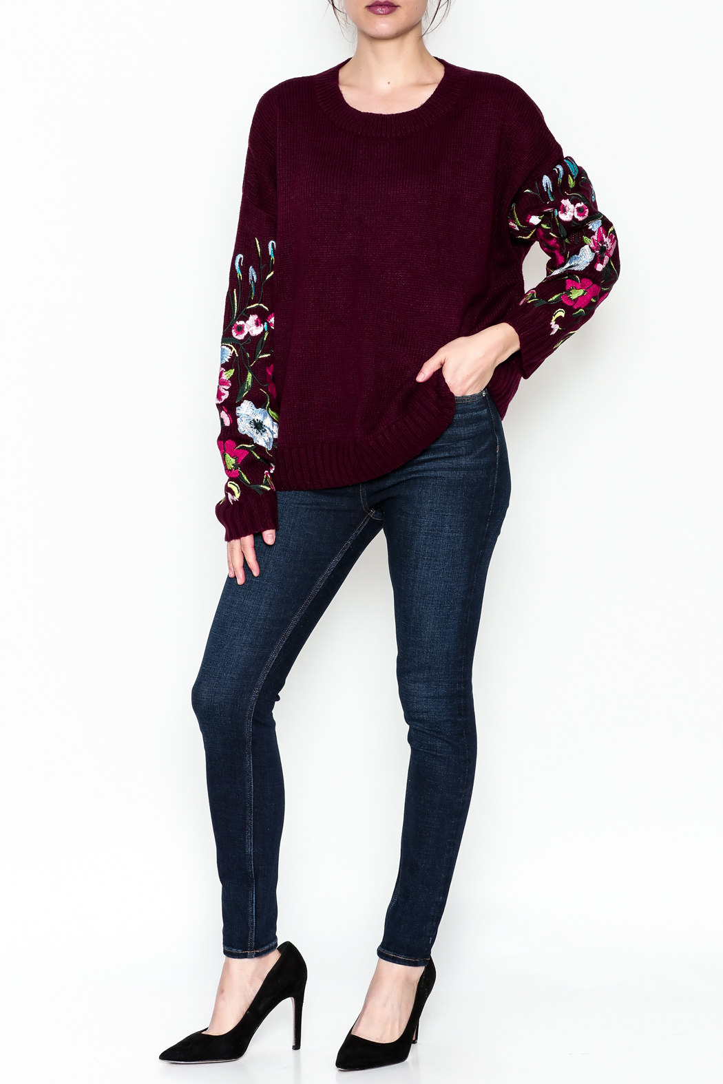Lumiere Floral Sleeve Sweater - Side Cropped Image