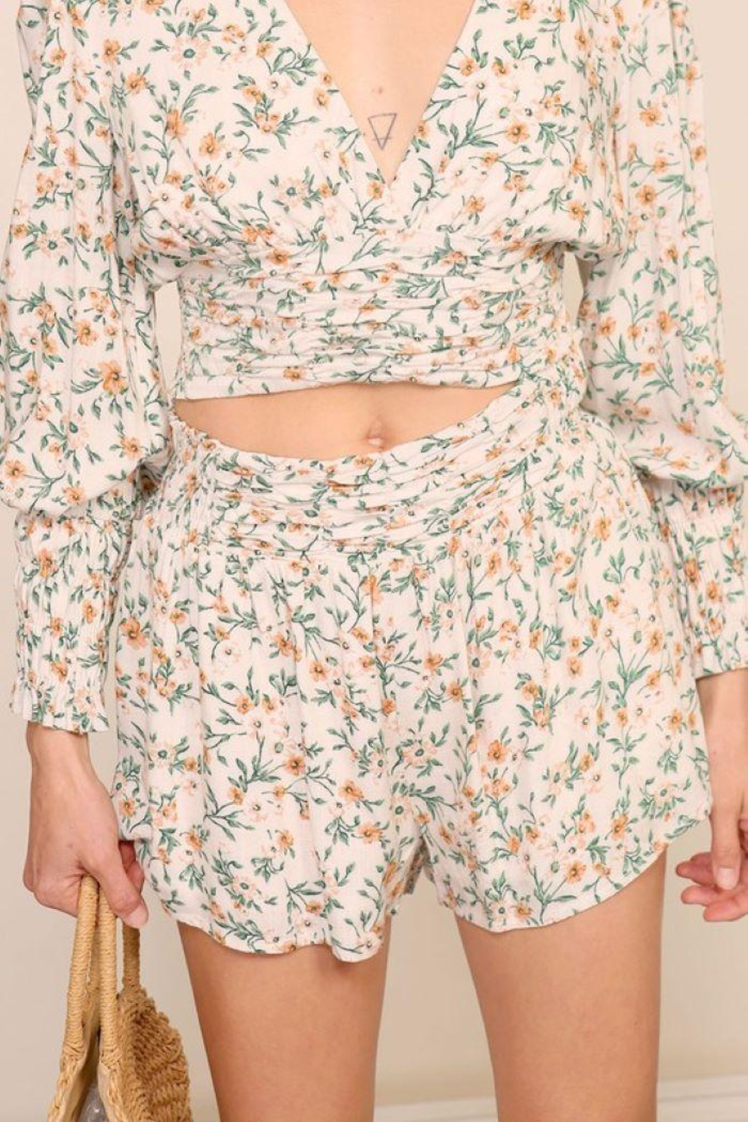 Lumiere Floral Smocking Detail Shorts - Back Cropped Image
