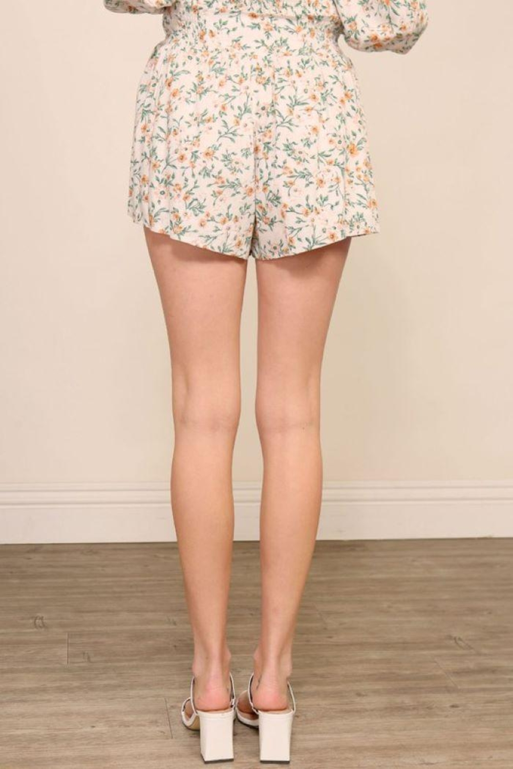 Lumiere Floral Smocking Detail Shorts - Front Full Image