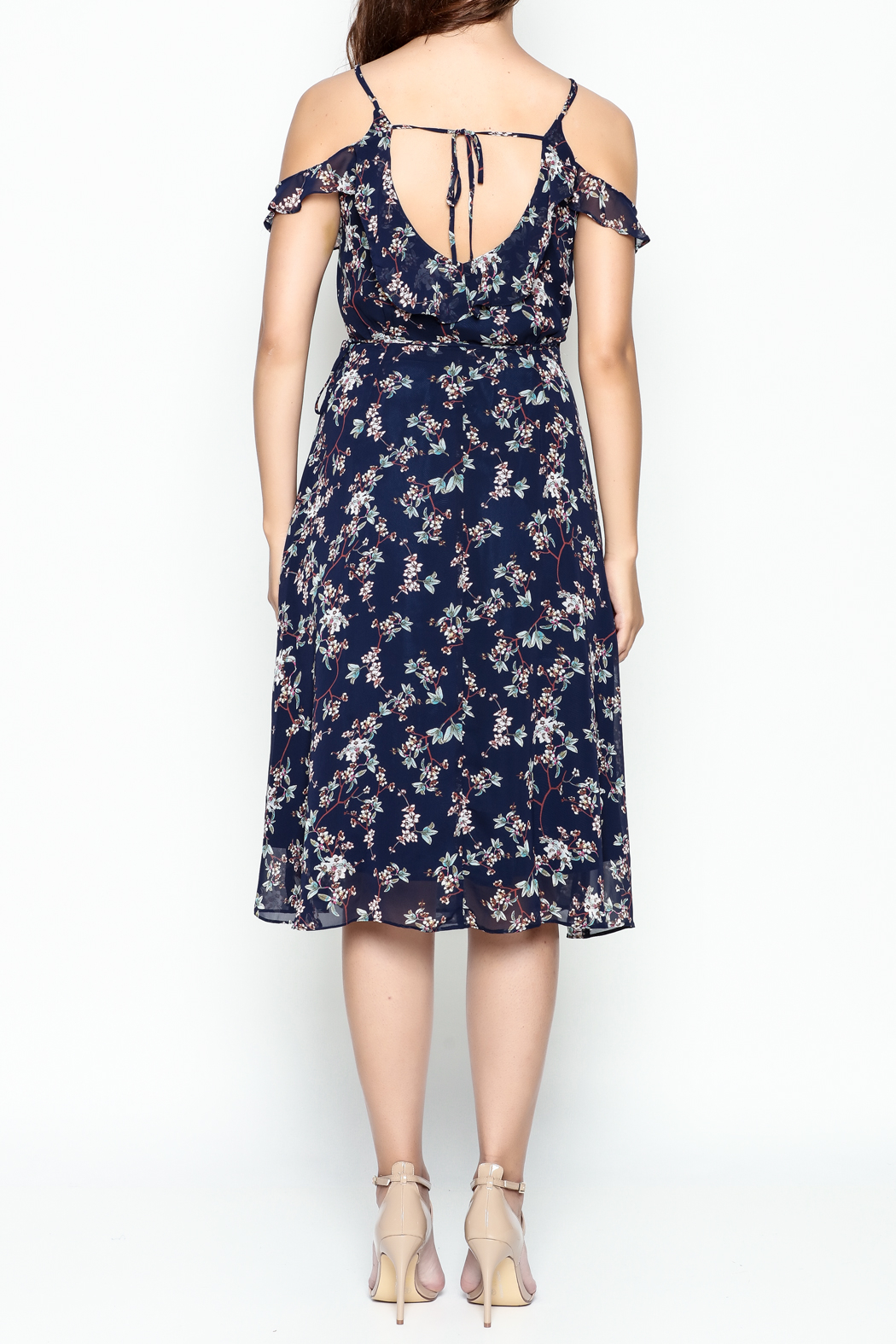 Lumiere Floral Wrap Dress - Back Cropped Image