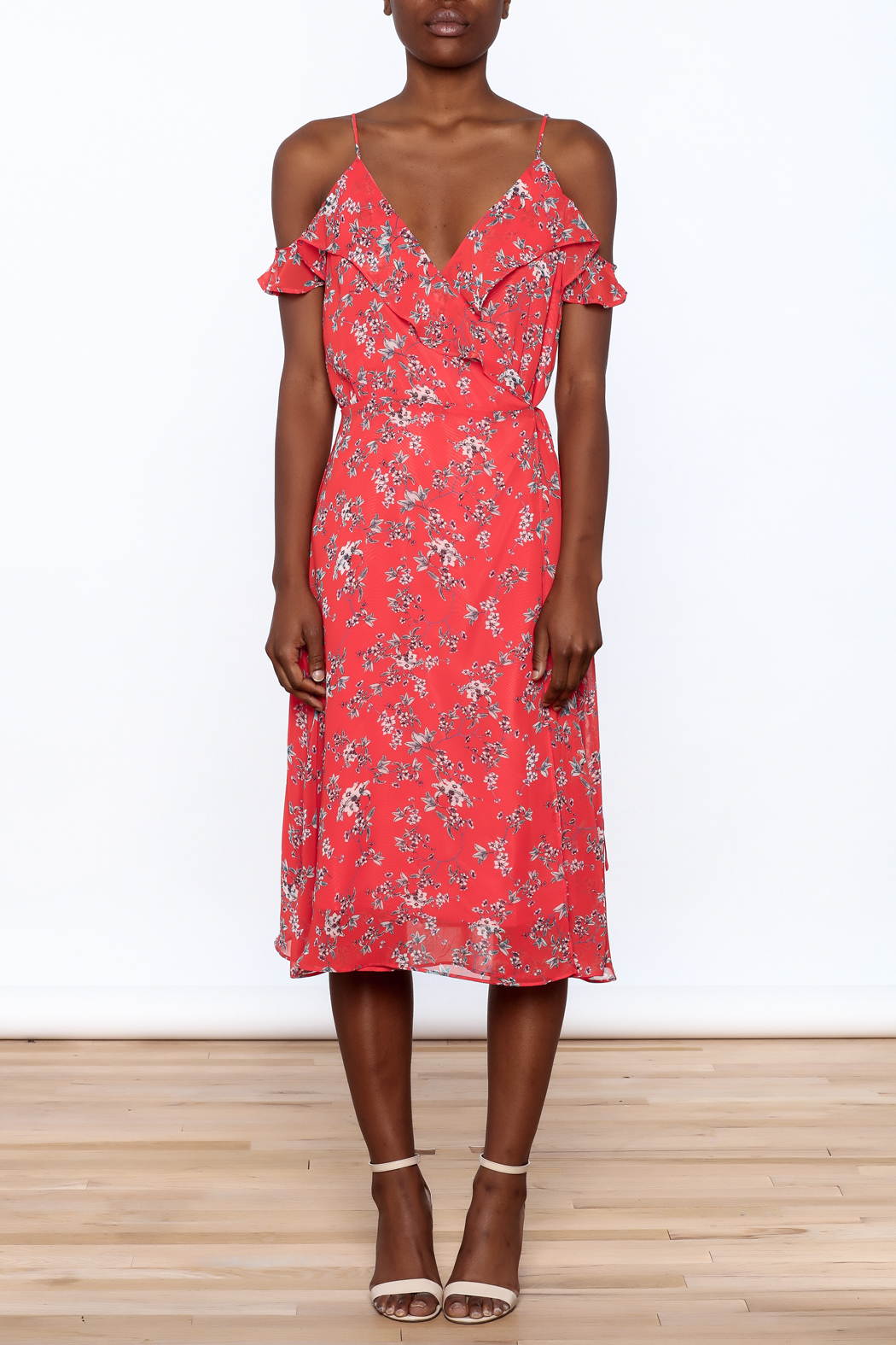 Lumiere Floral Midi Wrap Dress - Front Cropped Image