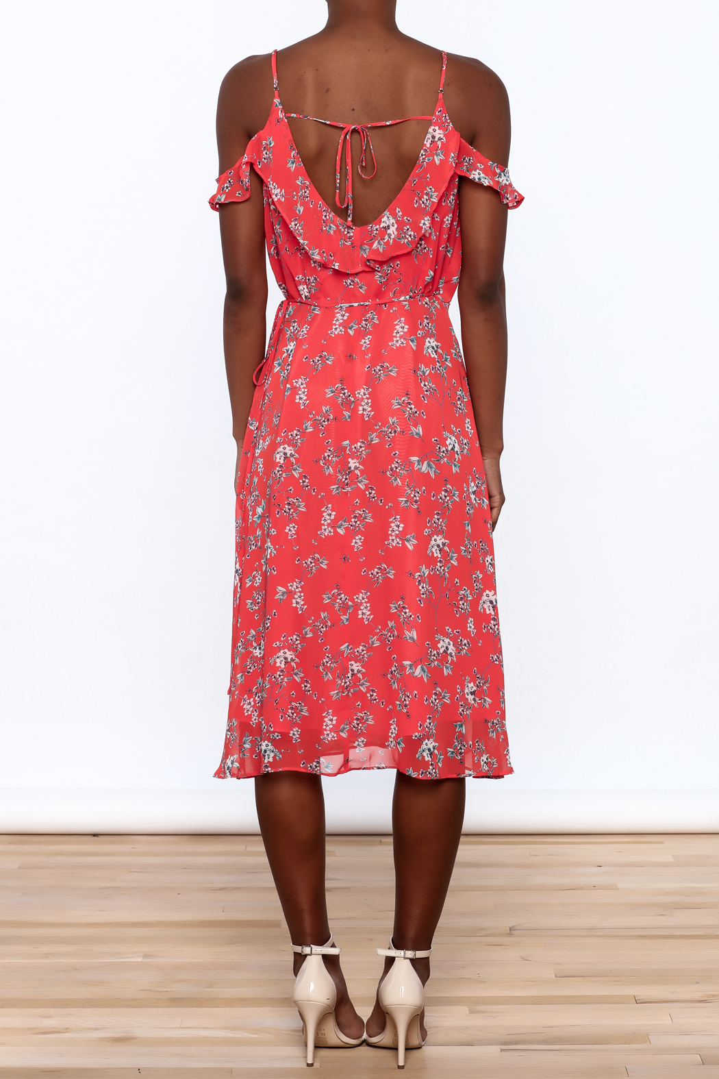 Lumiere Floral Midi Wrap Dress - Back Cropped Image