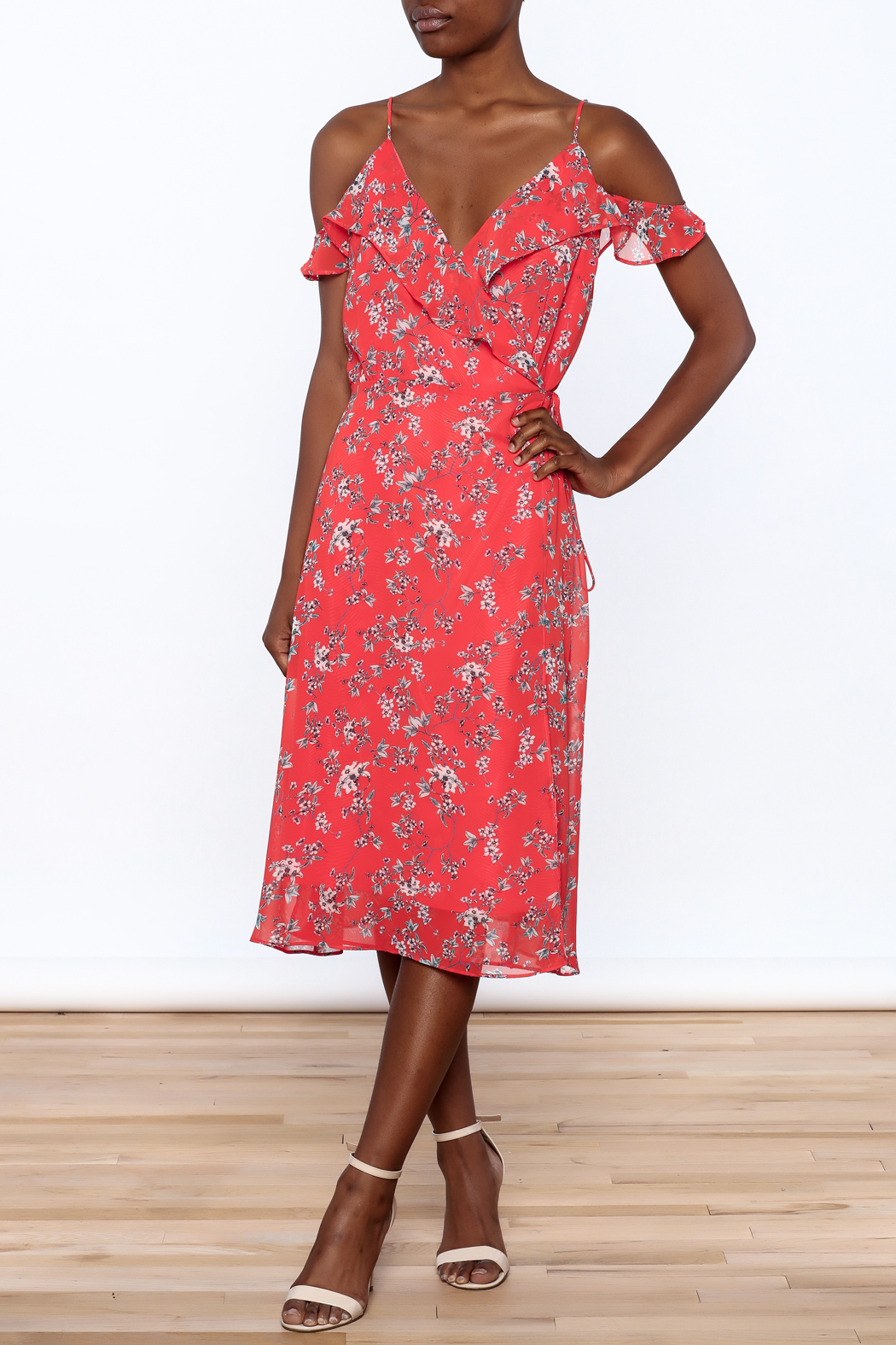 Lumiere Floral Midi Wrap Dress - Front Full Image