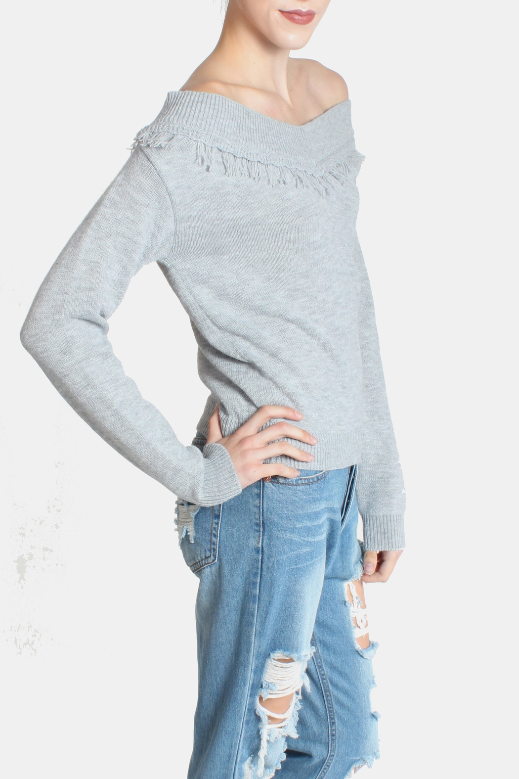 Lumiere Fringe Cropped Sweater - Side Cropped Image