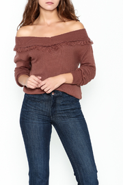 Lumiere Open Neck Fringe Sweater - Front cropped