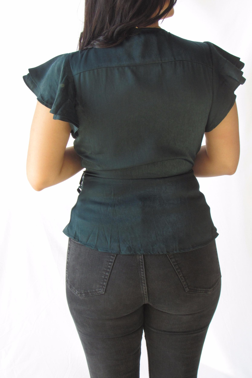 Lumiere Green Wrap Blouse - Side Cropped Image