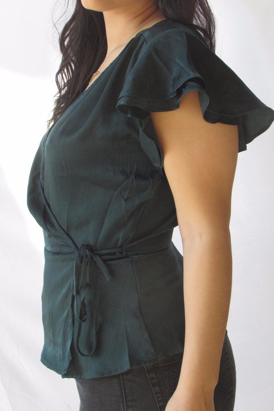 Lumiere Green Wrap Blouse - Front Full Image