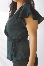 Lumiere Green Wrap Blouse - Front full body