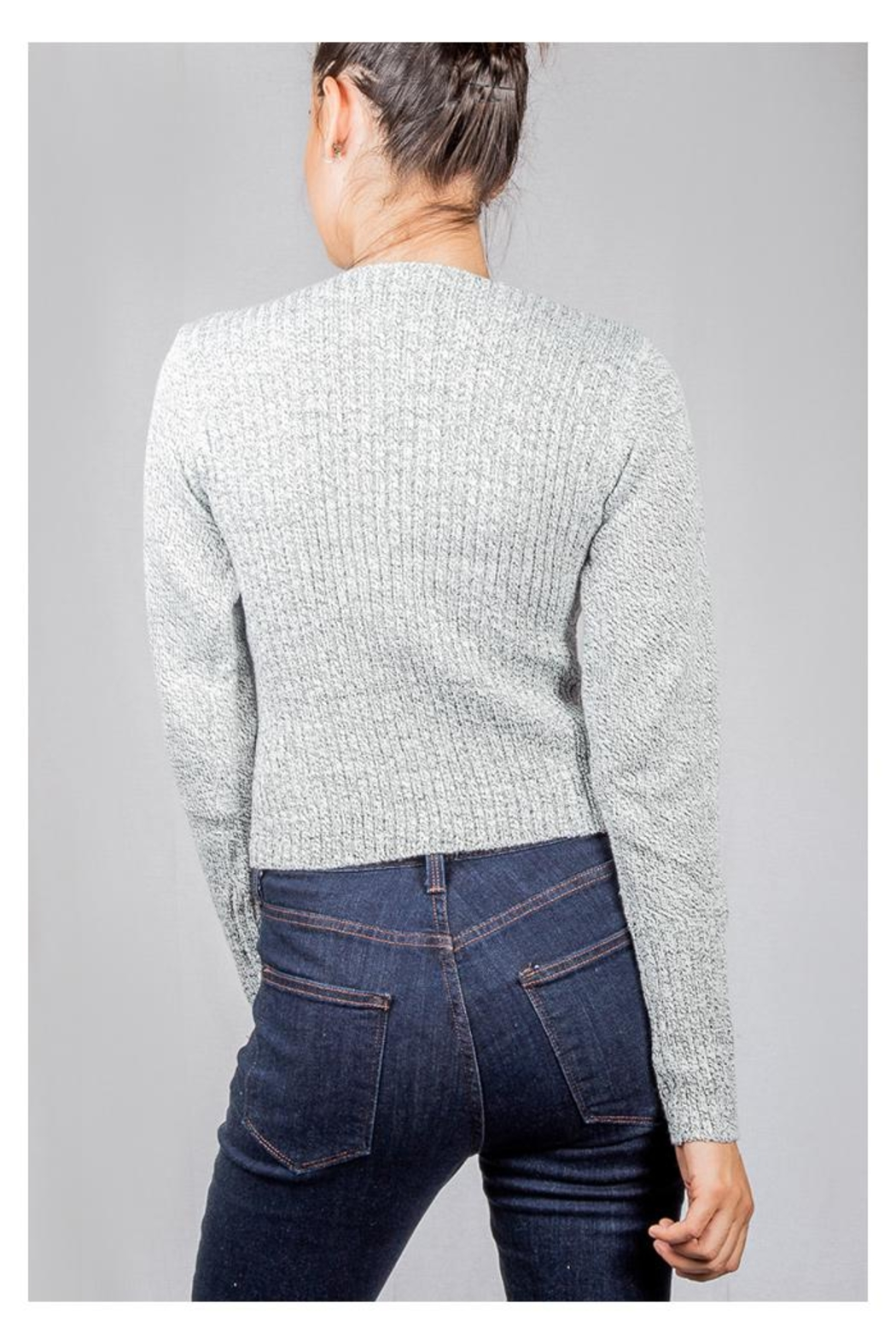 Lumiere Grey Wrap Sweater-Top - Side Cropped Image