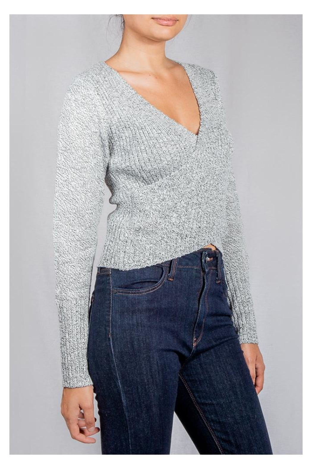 Lumiere Grey Wrap Sweater-Top - Front Full Image