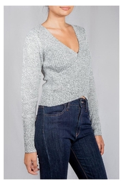 Lumiere Grey Wrap Sweater-Top - Front full body