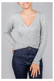 Lumiere Grey Wrap Sweater-Top - Product Mini Image