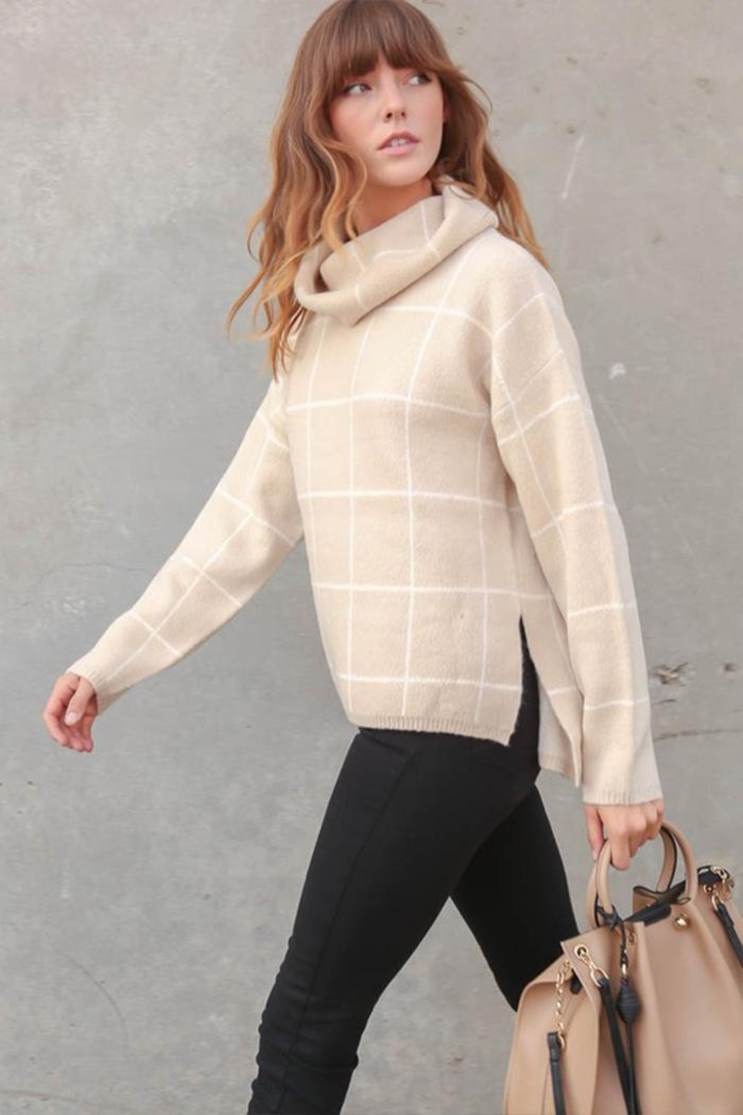 Lumiere Grid-Print Turtleneck Sweater - Front Full Image