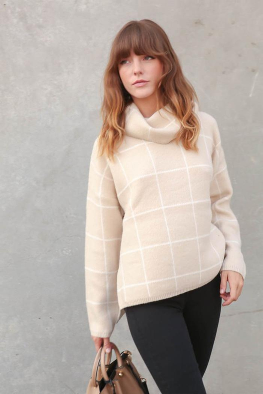 Lumiere Grid-Print Turtleneck Sweater - Front Cropped Image