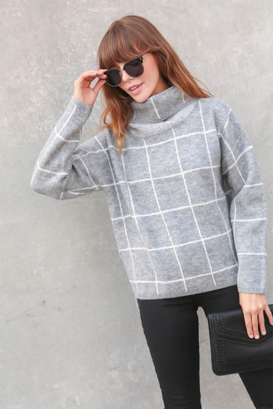 Lumiere Grid-Print Turtleneck Sweater - Main Image